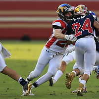 (Photograph by Bill Gerth/ for SVCN/6/24/17) Del Mar #28 Connor Howery makes the tackle CharieWedemeyer All Star Game at Levi Stadium, San Jose CA on 6/24/17. (North 13 South 13)