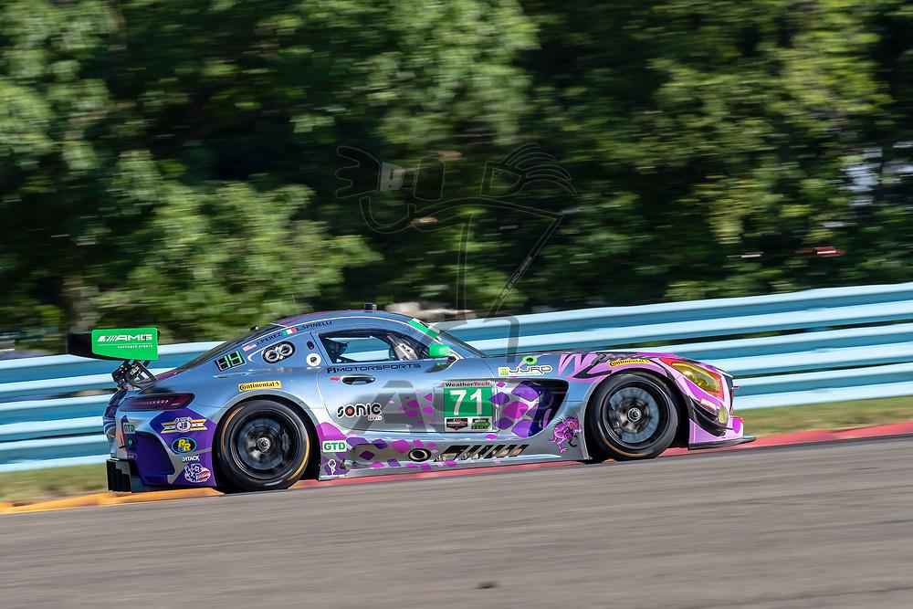 The P1 Motorsports/Sonic Tools Mercedes-AMG GT3 America car practice for the Sahlen's Six Hours At The Glen at Watkins Glen International Raceway in Watkins Glen, New York.
