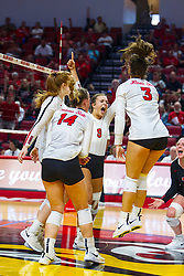 BLOOMINGTON, IL - September 15: Redbird team celebration during a college Women's volleyball match between the ISU Redbirds and the Marquette Golden Eagles on September 15 2019 at Illinois State University in Normal, IL. (Photo by Alan Look)