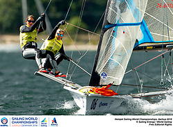 Aarhus, Denmark is hosting the 2018 Hempel Sailing World Championships from 30 July to 12 August 2018. More than 1,400 sailors from 85 nations are racing across ten Olympic sailing disciplines as well as Men's and Women's Kiteboarding. <br /> 40% of Tokyo 2020 Olympic Sailing Competition places will be awarded in Aarhus as well as 12 World Championship medals. ©PEDRO MARTINEZ/SAILING ENERGY/AARHUS 2018<br /> 11 August, 2018.