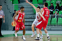 Dontaye Draper of Cedevita Zagreb and Vlado Ilievski of Union Olimpija during basketball match between KK Union Olimpija and Cedevita Zagreb in 21st round of NLB league in Arena Stozice, on Februar 19, 2011 at SRC Stozice, Ljubljana, Slovenia. (Photo By Matic Klansek Velej / Sportida.com)