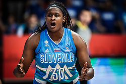 Shante Evans of Slovenia reacts during basketball match between Women National teams of Italy and Slovenia in Group phase of Women's Eurobasket 2019, on June 30, 2019 in Sports Center Cair, Nis, Serbia. Photo by Vid Ponikvar / Sportida