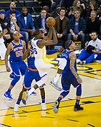 Golden State Warriors forward Kevin Durant (35) takes the ball to the basket against the New York Knicks at Oracle Arena in Oakland, Calif., on May 2, 2017. (Stan Olszewski/Special to S.F. Examiner)