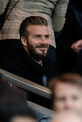 David Beckham takes his seat in the crowd - Photo mandatory by-line: Rogan Thomson/JMP - 07966 386802 - 17/02/2015 - SPORT - FOOTBALL - Paris, France - Parc des Princes - Paris Saint-Germain v Chelsea - UEFA Champions League, Last 16, First Leg.