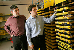MOUNTAIN VIEW, CALIF., APRIL 8, 2003--GOOGLE-- Larry Page, Co-Founder & President, Products (L) and Sergey Brin, Co-Founder & President, Technology inside the server room at Google's campus headquarters in Mountain View, Calif. They founded the company in 1998.  Photo by Kim Kulish