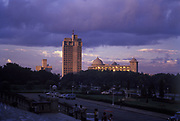 General Post Office and Vishweshwarayya Towers from the steps of Vidhana Soudha after a storm, 1988