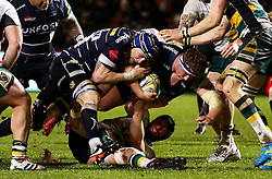 Ross Harrison of Sale Sharks is tackled - Mandatory by-line: Matt McNulty/JMP - 03/03/2017 - RUGBY - AJ Bell Stadium - Sale, England - Sale Sharks v Northampton Saints - Aviva Premiership
