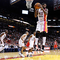21 January 2012: Miami Heat power forward Udonis Haslem (40) grabs a rebound during the Miami Heat 113-92 victory over the Philadelphia Sixers at the AmericanAirlines Arena, Miami, Florida, USA.
