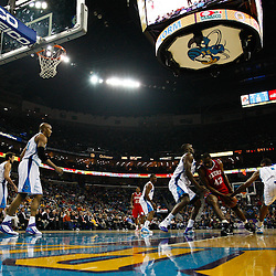 January 3, 2011; New Orleans, LA, USA; Philadelphia 76ers power forward Elton Brand (42) has the ball stripped away by New Orleans Hornets small forward Trevor Ariza (1) during the first quarter at the New Orleans Arena.   Mandatory Credit: Derick E. Hingle