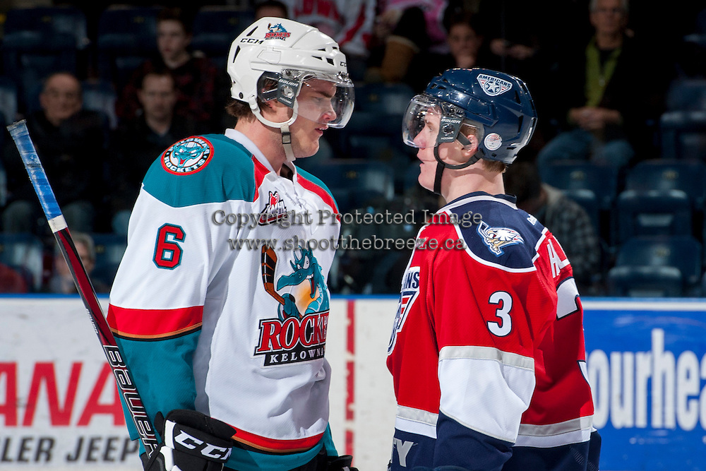 KELOWNA, CANADA -FEBRUARY 19: Riley Hillis #3 of the Tri City Americans gets in the face of Mitchell Wheaton #6 of the Kelowna Rockets during third period on February 19, 2014 at Prospera Place in Kelowna, British Columbia, Canada.   (Photo by Marissa Baecker/Getty Images)  *** Local Caption *** Riley Hillis; Mitchell Wheaton;