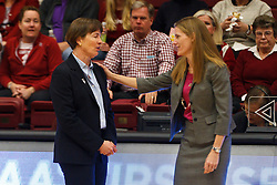 March 21, 2011; Stanford, CA, USA; St. John's Red Storm head coach Kim Barnes Arico (right) talks to Stanford Cardinal head coach Tara VanDerveer (left) before the start of the second round of the 2011 NCAA women's basketball tournament at Maples Pavilion.