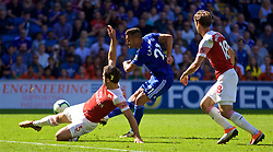 CARDIFF, WALES - Sunday, September 2, 2018: Cardiff City's Víctor Camarasa scores the first equalising goal during the FA Premier League match between Cardiff City FC and Arsenal FC at the Cardiff City Stadium. (Pic by David Rawcliffe/Propaganda)