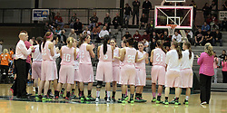 08 February 2014:  Lady Titans celebrate win at half court as band plays Titan fight song during an NCAA women's division 3 CCIW basketball game between the Elmhurst Bluejays and the Illinois Wesleyan Titans in Shirk Center, Bloomington IL