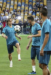 May 25, 2018 - Kiev, Ukraine - Real Madrid's Croatian midfielder Luka Modric controls the ball during their training session for UEFA Champions League Final against Liverpool FC at NSC Olimpiyskyi in Kyiv, Ukraine, May 25, 2018. UEFA Champions League Final  (Credit Image: © Sergii Kharchenko/NurPhoto via ZUMA Press)