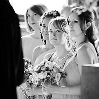 The bridesmaids during the wedding ceremony at Matt and Alison's Chicago wedding.