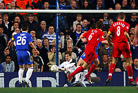 CHELSEA/LIVERPOOL CHAMPIONS LEAGUE SEMI FINAL 27.04.05 PHOTO TIM PARKER FOTOSPORTS INTERNATIONAL<br />PETR CECH CHELSEA SAVES FROM JOHN ARNE RIISE LIVERPOOL