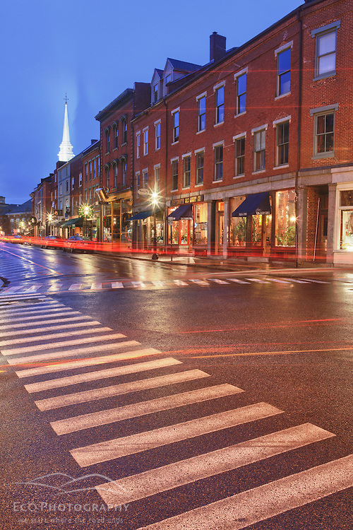 A crosswalk on Market Street in Portsmouth, New Hampshire.