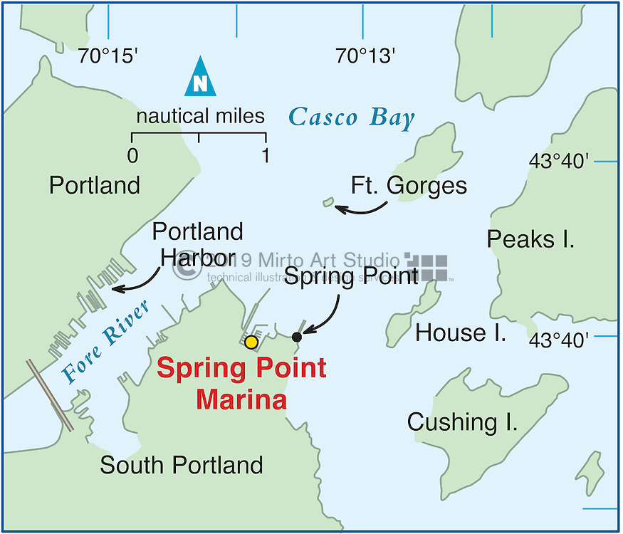 Vector map of South Portland, Maine marina