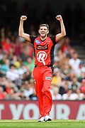 17th February 2019, Marvel Stadium, Melbourne, Australia; Australian Big Bash Cricket League Final, Melbourne Renegades versus Melbourne Stars; Harry Gurney of the Melbourne Renegades celebrates a wicket