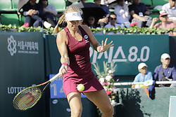 September 23, 2018 - Seoul, SOUTH KOREA - Sep 23, 2018-Seoul, South Korea-Ajla Tomljanovic of Australia and Kiki Bertens of Netherland action on the court during an KEB HANA BANK KOREA OPEN SINGLE Final round at Olympic Park in Seoul, South Korea. This Match Won Kiki Bertens. (Credit Image: © Ryu Seung-Il/ZUMA Wire)