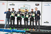 January 24-27, 2019. IMSA Weathertech Series ROLEX Daytona 24. #11 GRT Grasser Racing Team Lamborghini Huracan GT3, Orange 1 Racing, GTD: Mirko Bortolotti, Christian Engelhart, Rik Breukers, Rolf Ineichen win the Daytona 24 hrs.