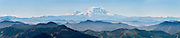 From Granite Mountain Lookout (5629 feet elevation) view Mount Rainier on a clear day 42 miles to the south. Located in Alpine Lakes Wilderness Area, Granite Mountain is a hike of 8 miles with 3800 feet elevation gain, accessed from Exit 47 of Interstate 90 near Seattle, Washington, USA. Panorama stitched from 5 images.