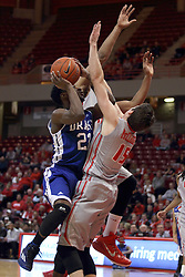 07 January 2015:   Ore Arogundade runs head long into Justin McCloud and gets called for an offensive foul during an NCAA MVC (Missouri Valley Conference) men's basketball game between the Drake Bulldogs and the Illinois State Redbirds at Redbird Arena in Normal Illinois.  Illinois State comes out victorious 81-45.