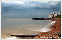 A thunderstorm passes the Kent coastline and the village of Kingsdown near Dover and Deal ahead of what is expected to be the hottest day of the year 19th June 2013<br /> Picture by Shaun Fellows / Shine Pix Ltd