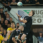 Cory Jane, New Zealand, takes a high kick during the New Zealand V Australia Semi Final match at the IRB Rugby World Cup tournament, Eden Park, Auckland, New Zealand, 16th October 2011. Photo Tim Clayton...