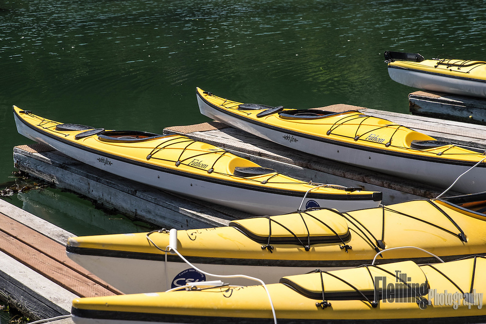 Kayaks for rent in the San Juan Islands, Washington, USA.