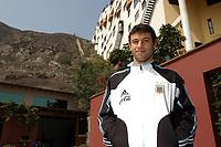 "21/07/04 - LIMA - PERU - COPA AMERICA PERU 2004 - AMERICAN CUP  - <br />Argentine players received the press at his hotel ""Gold Los Incoas"" in Lima Peru.<br />Here JAVIER MASCHERANO.<br />© Gabriel Piko /Argenpress.com"