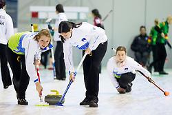 Ana Smolej and Nika Svetina of Slovenia during curling match between National teams of Slovenia and Lithuania in 6th Round of European Curling Championship on April 29, 2016 in Ledena dvorana Zalog, Ljubljana, Slovenia. Photo By Urban Urbanc / Sportida