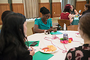 A student participates in an activity prior to meeting her mentor during the Women's Mentoring Meet and Greet event on Sept. 4, 2018 in Walter Rotunda. Photo by Hannah Ruhoff