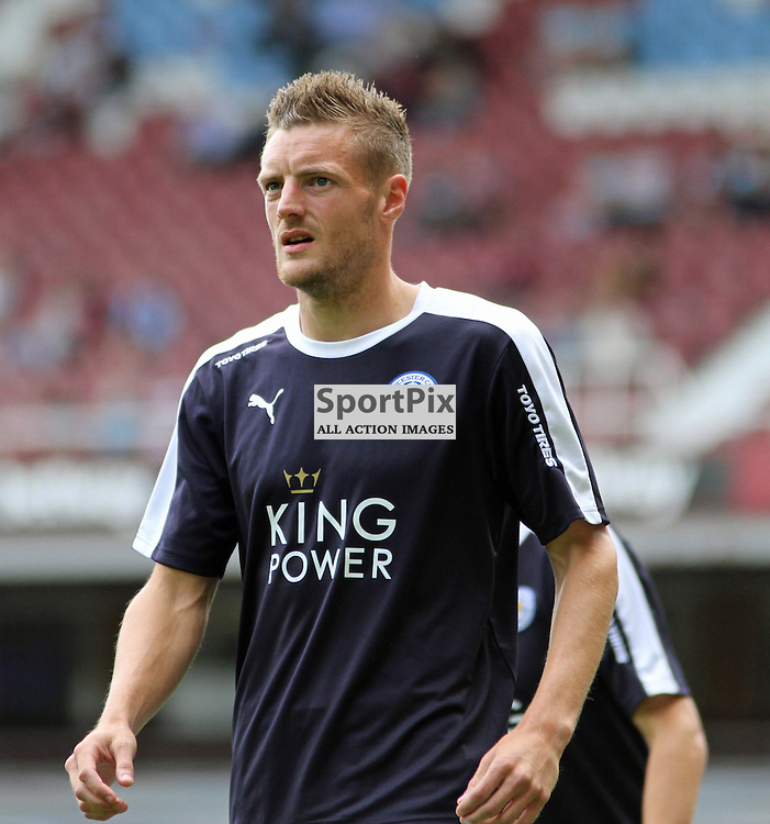 Jamie Vardy of Leicester City before West Ham United vs Leicester City on Saturday the 16th August 2015.
