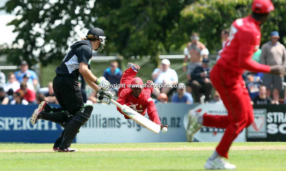 Regis Chakabva attempts run out Tom Latham.<br /> New Zealand v Zimbabwe, 1st ODI, 3 February 2012, University Oval, Dunedin, New Zealand.<br /> Photo: Rob Jefferies/PHOTOSPORT