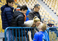Matej Gaber #22 of Slovenia kissing his girlfriend after the friendly match between National Teams of Slovenia and Egypt at Day 1 of New Year Tournament Celje 2014, on December 27, 2014 in Arena Zlatorog, Celje, Slovenia. Photo by Vid Ponikvar / Sportida