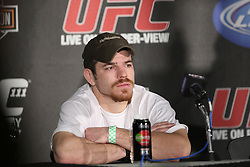 Mar 27, 2010; Newark, NJ, USA; Jim Miller speaks at the UFC 111 post-fight press conference at the Prudential Center in Newark, NJ.