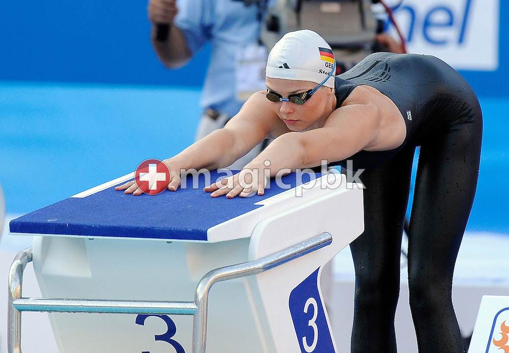Britta STEFFEN of Germany prepares herself before competing in the women's 50m freestyle semifinal at the 13th FINA World Championships at the Foro Italico complex in Rome, Italy, Saturday, Aug. 1, 2009. (Photo by Patrick B. Kraemer / MAGICPBK)