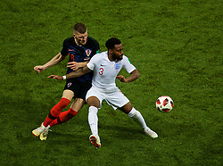 MOSCOW, RUSSIA - Wednesday, July 11, 2018: Croatia's Ante Rebić (left) and England's substitute Danny Rose during the FIFA World Cup Russia 2018 Semi-Final match between Croatia and England at the Luzhniki Stadium. (Pic by David Rawcliffe/Propaganda)