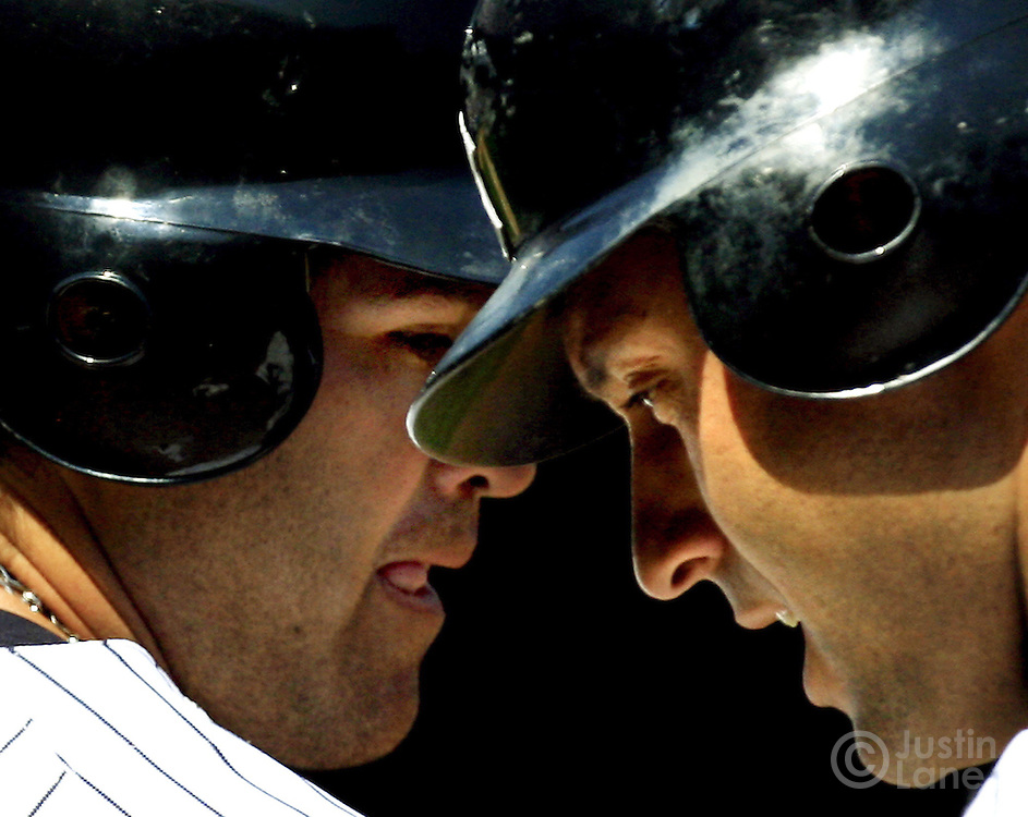 The Yankees' Derek Jeter (R) and Johnny Damon (L) stand together at Yankees Stadium Tuesday 11 April 2006 in New York. ..