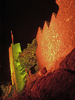 Ruins of the castle at Baden, Switzerland at night.