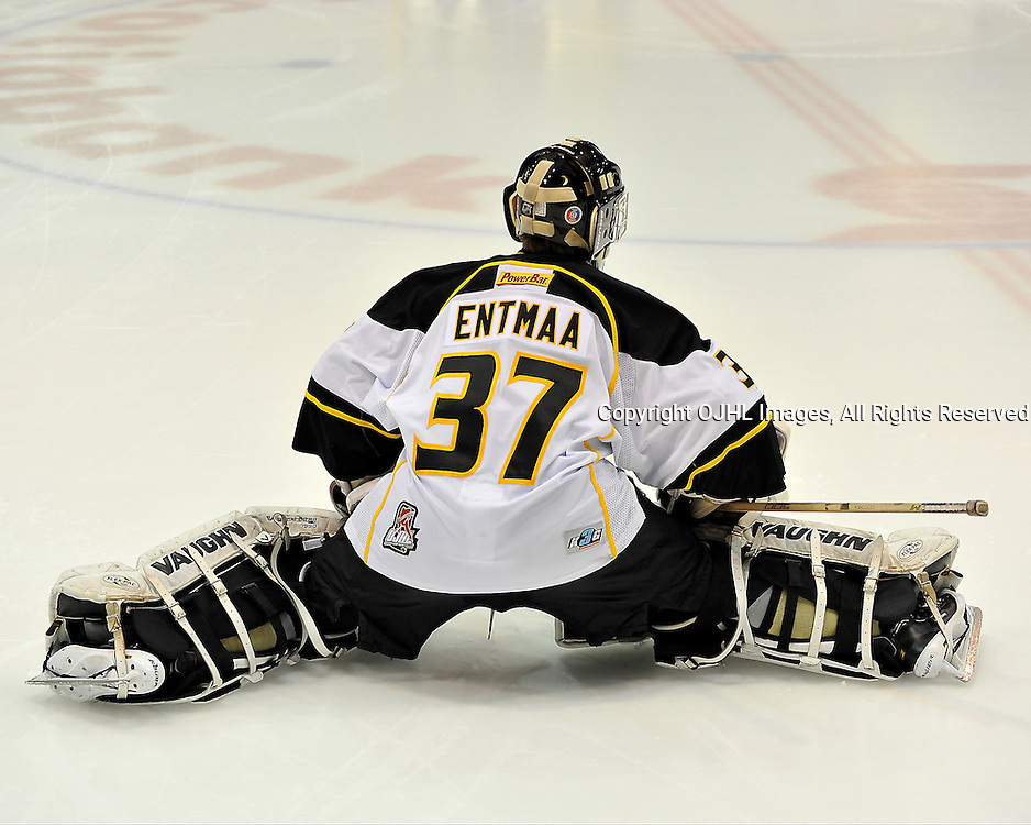 WHITBY, ON - Oct 20: Ontario Junior Hockey League game between Aurora Tigers and Whitby Fury. Kevin Entmaa #37 of the Aurora Tigers Hockey Club during the pre-game warm-up.<br /> (Photo by Shawn Muir / OJHL Images)