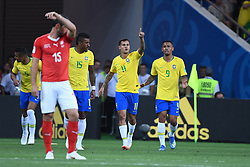 ROSTOV-ON-DON, June 17, 2018  Philippe Coutinho (2nd R) of Brazil celebrates his scoring during a group E match between Brazil and Switzerland at the 2018 FIFA World Cup in Rostov-on-Don, Russia, June 17, 2018. (Credit Image: © Li Ga/Xinhua via ZUMA Wire)