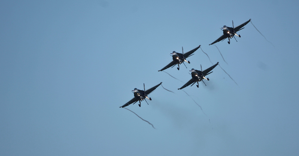 RAAF F18's perform a 4 ship fly past in the 75th Anniversary Airshow at Ohakea Airforce base, New Zealand, Saturday, 31 March, 2012. Credit:SNPA / John Cowpland
