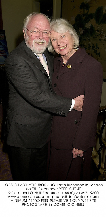 LORD &amp; LADY ATTENBOROUGH at a luncheon in London on 7th December 2000.<br />