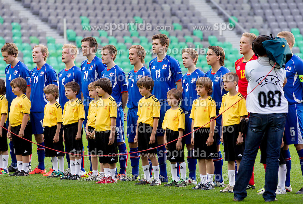 Team of Iceland  listening to the national anthems during the UEFA European Under-17 Championship Group A match between Iceland and Germany on May 7, 2012 in SRC Stozice, Ljubljana, Slovenia. Germany defeated Iceland 1-0. (Photo by Vid Ponikvar / Sportida.com)