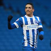 Brighton striker Anthony Knockaert celebrates a goal during the Sky Bet Championship match between Brighton and Hove Albion and Bolton Wanderers at the American Express Community Stadium, Brighton and Hove, England on 13 February 2016. Photo by Bennett Dean.