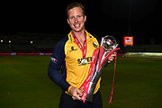 Victorious Captain Simon Harmer with the Vitality T20 Blast Trophy during the Vitality T20 Finals Day 2019 match between Worcestershire County Cricket Club and Essex County Cricket Club at Edgbaston, Birmingham, United Kingdom on 21 September 2019.