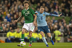 November 15, 2018 - Dublin, Ireland - Jeff Hendrick of Ireland duels with Steven Davis of N.Ireland during the International Friendly match between Republic of Ireland and Northern Ireland at Aviva Stadium in Dublin, Ireland on November 15, 2018  (Credit Image: © Andrew Surma/NurPhoto via ZUMA Press)