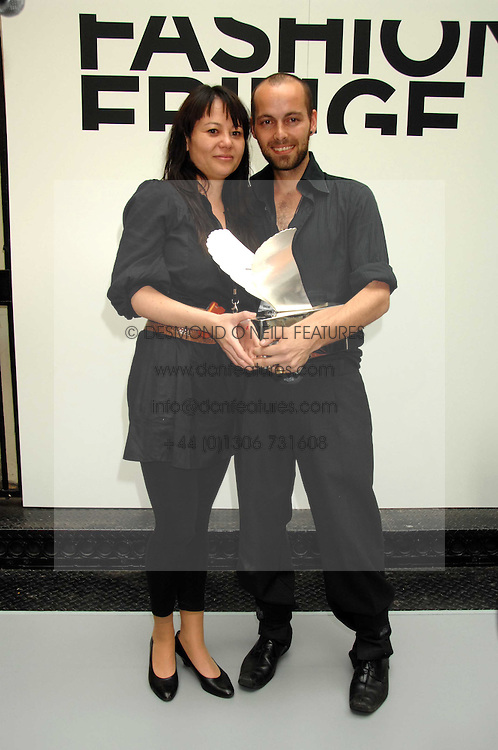 MALA AMINAKA LOFUANDER and MARCUS  WILMONT of fashion label Aminaka Wilmont winners of the Fashion Fringe 2007  at Fashion Fringe 2007 held at 1 The Piazza, Covent Garden, London on 20th September 2007.<br />